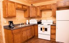 Fully furnished log cabin kitchens - Just bring your food!