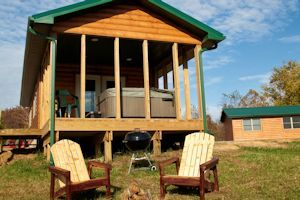 Log cabin deck and hot tub